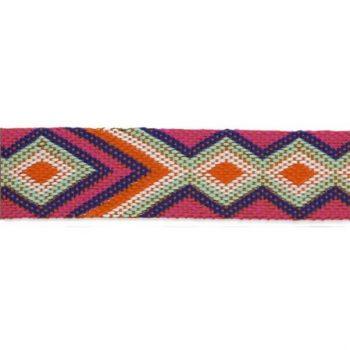 Galon tressé motif ethenique géometrique   12mm à 20mm