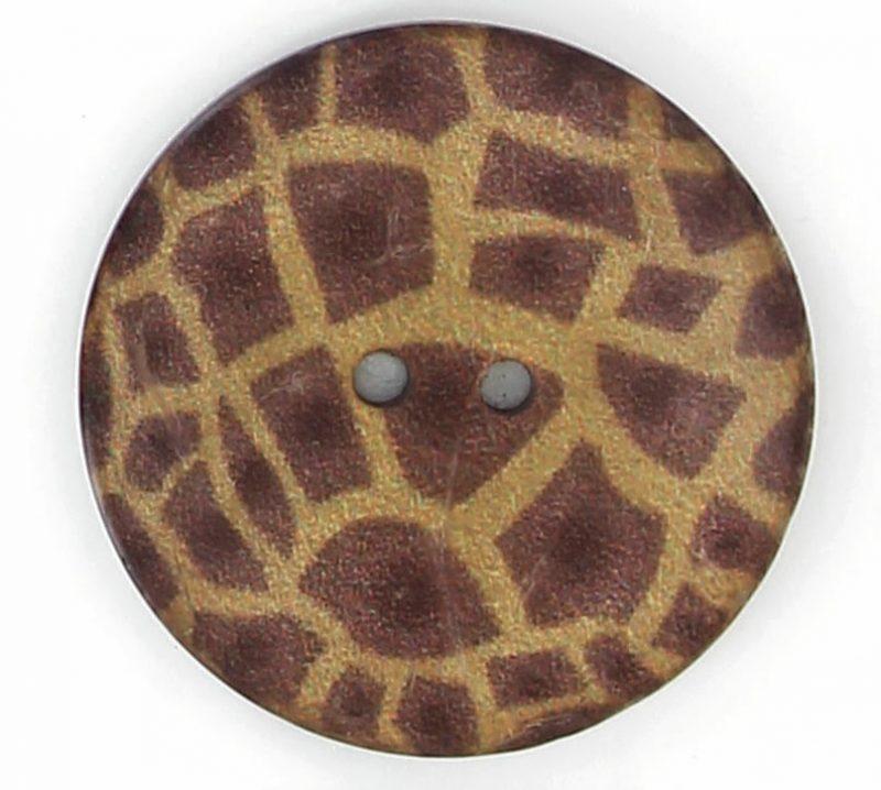 Bouton 2 trous coco imprimé girafe 22mm à 40mm