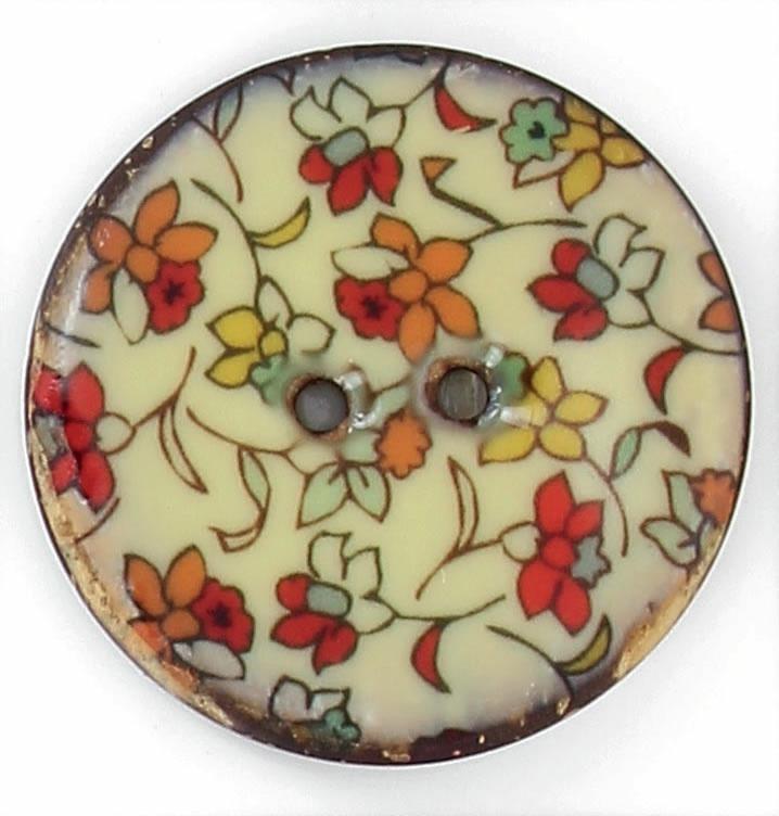 Bouton 2 trous coco laque fleur 20mm à 40mm