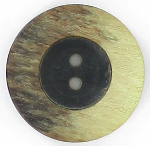 Bouton 2 trous centre noir bord plat 18mm à 27mm