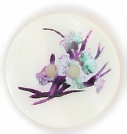 Bouton 2 trous nacre imprimé fleur violette  15mm à 22mm