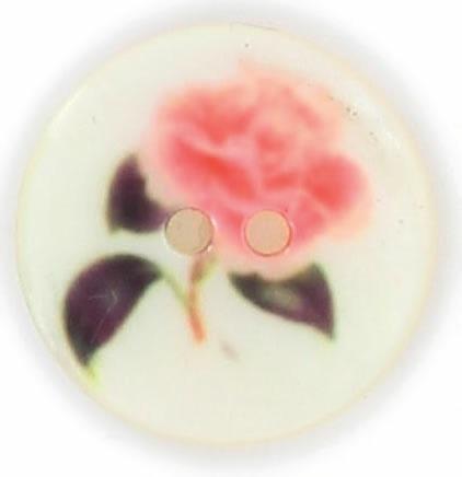 Bouton 2 trous nacre imprimé fleur rose. 15mm à 22mm