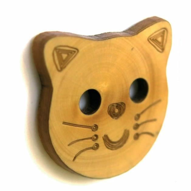 Bouton 2 trous buis tete de chat 32mm à 25mm