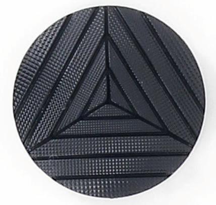 Bouton à pied noir strie en triangle  15mm à 27mm