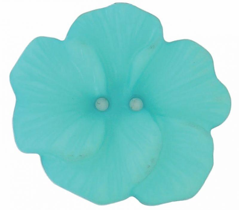 Boutons 2 trous fleur exotique translucide 48mm