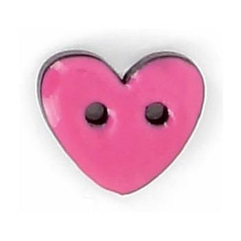 Bouton 2 trous coco laqué coeur 10mm à 15mm