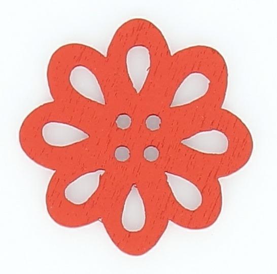 Bouton 4 trous bois fleur decoupé ajouré 20mm