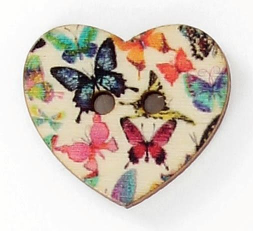 Bouton 2 trous cœur découpé imprimé fleur 25mm