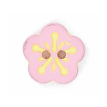 Boutons enfant fleur rose et jaune 12mm