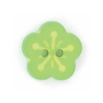 Boutons enfant fleur verte et jaune 12mm