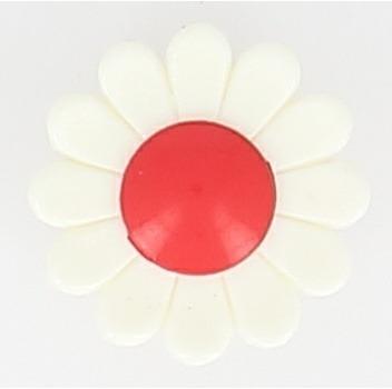 Boutons enfant marguerite blanche et rouge. 15mm