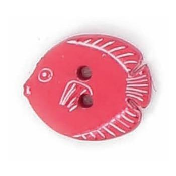 Boutons enfant poisson rouge / blanc 15mm