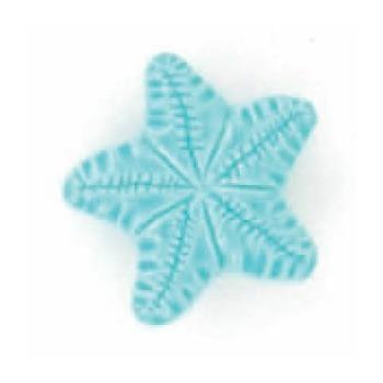Boutons enfant etoile de mer turquoise 15mm