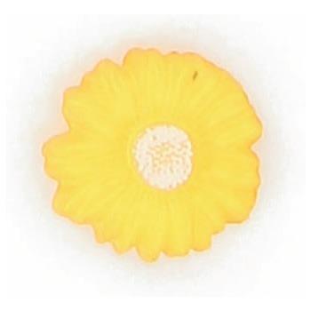 Boutons enfant fleur jaune coeur blanc 15mm