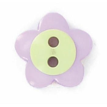 Boutons enfant fleur parme et vert.  15mm