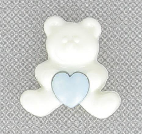 Boutons enfant ours blanc 2pcs coeur rose 18mm