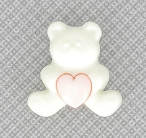 Boutons enfant ours blanc 2pcs coeur ciel 18mm