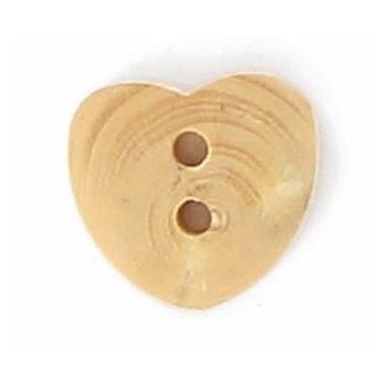 Boutons fantaisies bois coeur 2 trous bois 12mm
