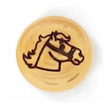 Boutons fantaisies bois pastille tete de cheval 15mm